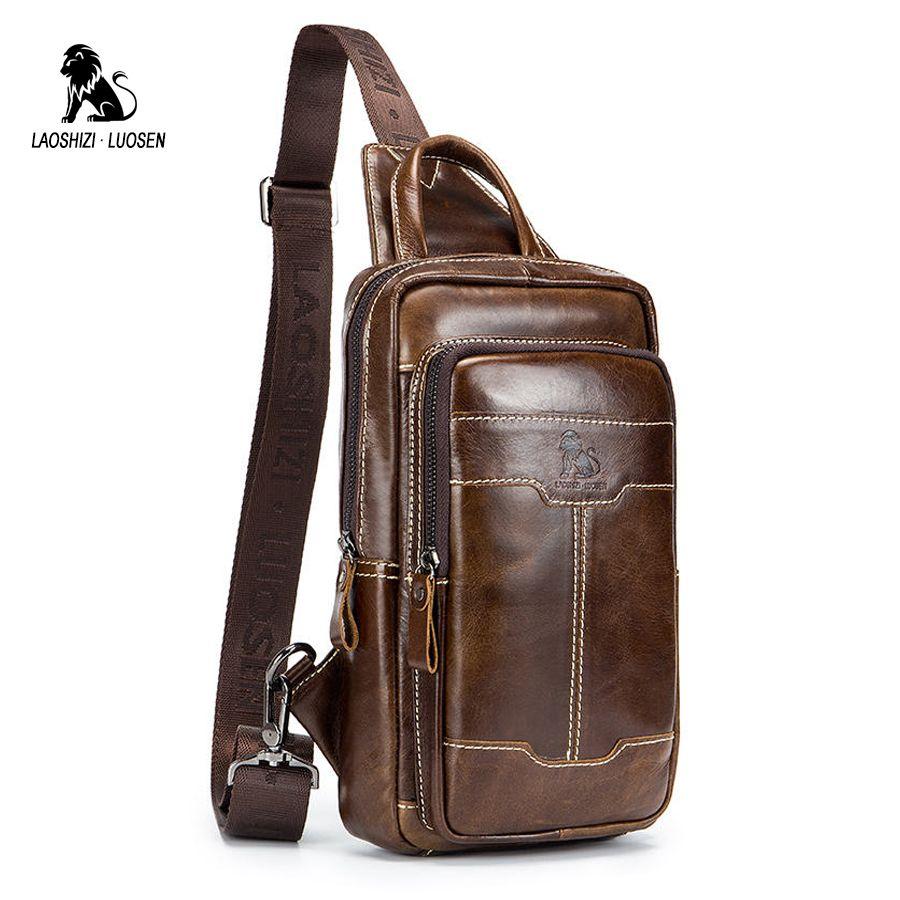 80eba306929e Genuine Leather Men S Chest Bag Crossbody Bag Chest Pack Man Portable  Travel Shoulder Messenger Male Small Handbag Cowhide Ladies Handbags Book  Bags From ...