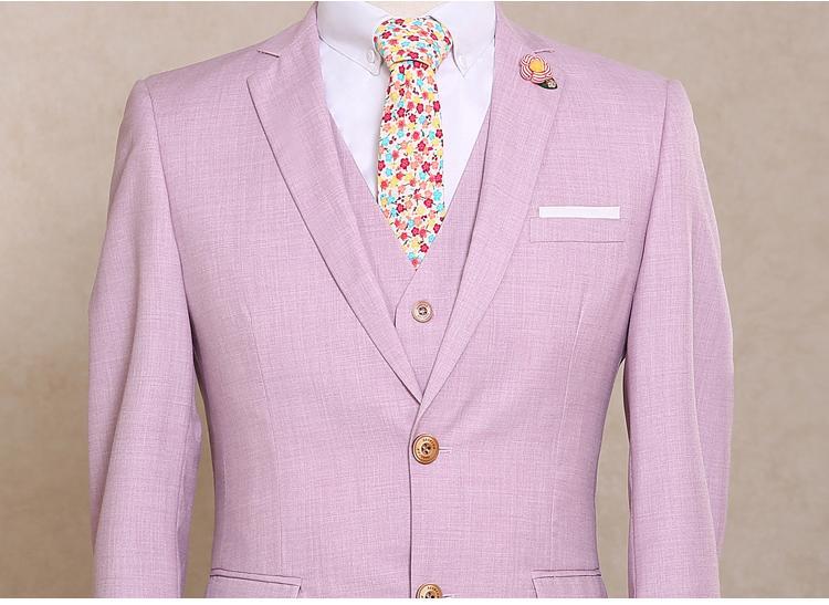 Sıcak Satış Erkek Takım Elbise Blazer Damat Düğün Işık Pembe Smokin Düz Tek Göğüslü Yün Parlak Akşam Yemeği Parti Balo Suits