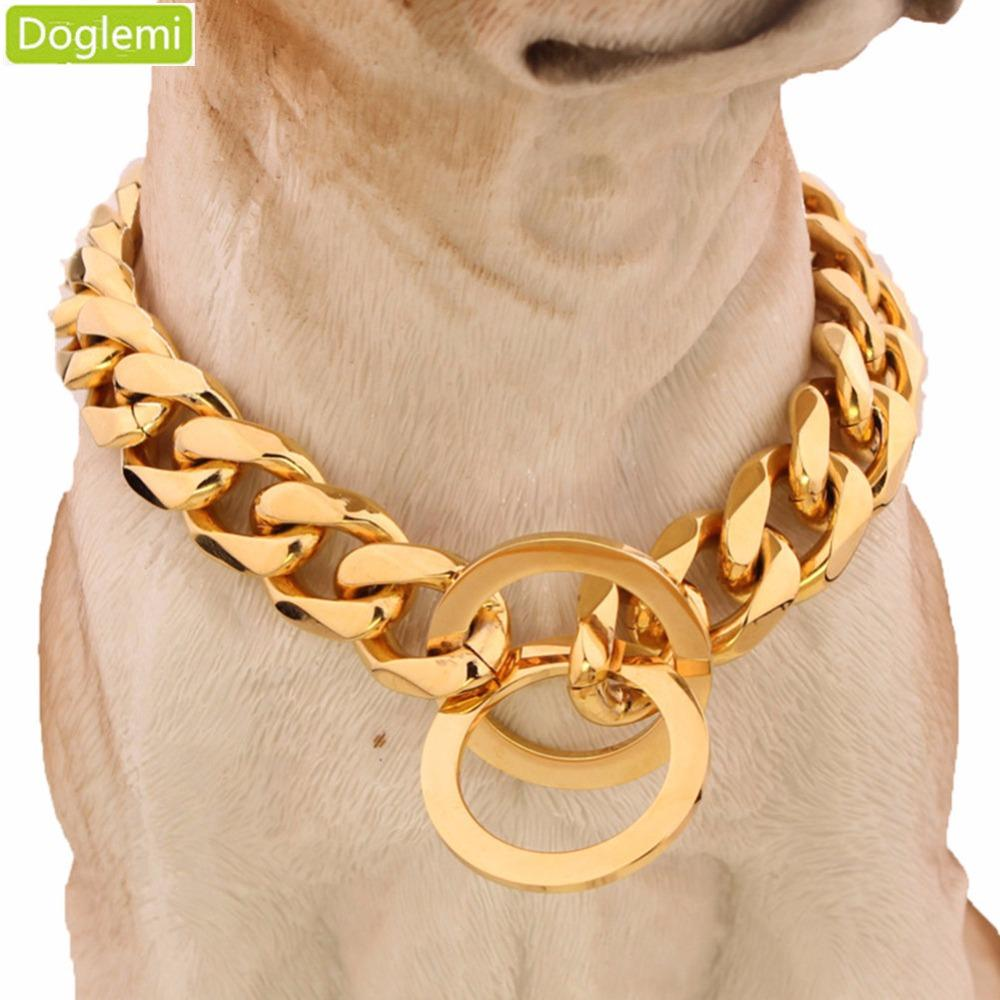 Doglemi 15mm 316l Stainless Steel Rose Gold Plated Cuban Dog Pet Chain Collar 24 &Quot ;