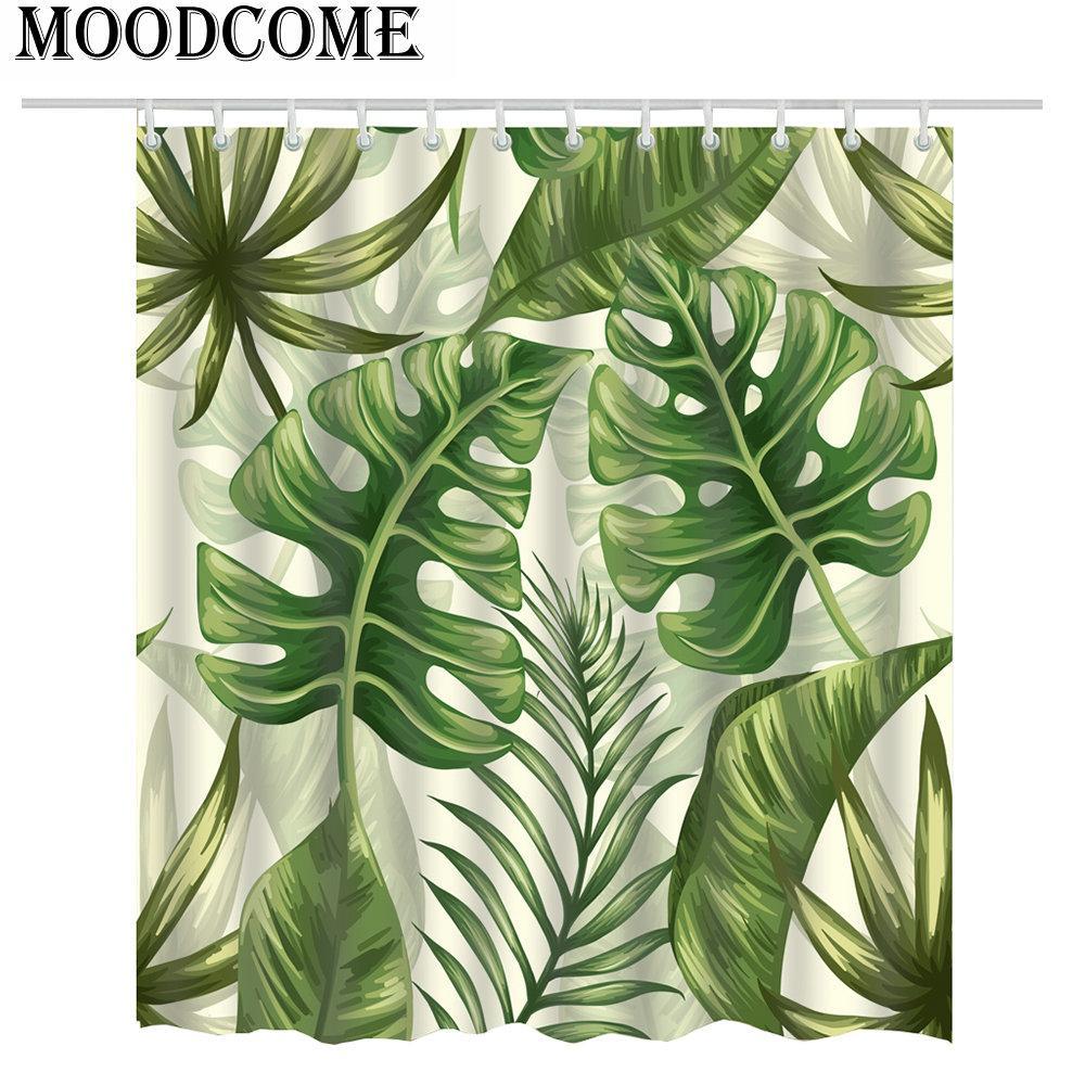 Grünpflanze-Duschvorhang-tropische Pflanzen-Badezimmer-Vorhang-tropisches  Duschblatt-Grün für das Badezimmer