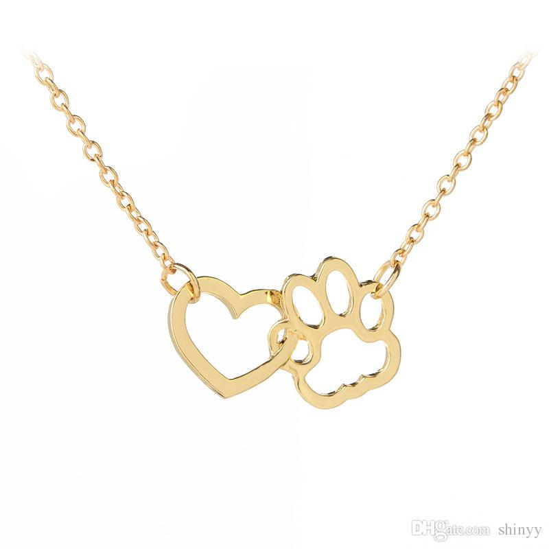 Fashion Necklace Sweet Dog Paw Heart Pendant Necklaces Silver Gold Alloy Short Necklace For Women Gift