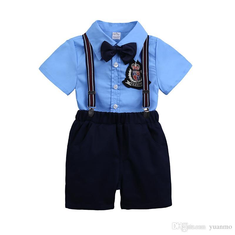 Acheter New Boy Vêtements Set Gentleman 2018 Été Mode Chemise Bleue +  Shorts Bébé Vêtements Costume Pour Mariage Fête Garçon Ensemble Formel De   18.98 Du ... 37d455f68383