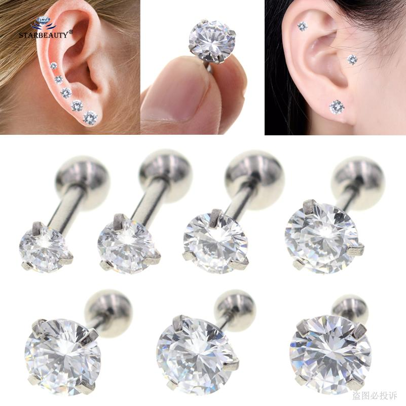 2pcs Lot 16g 2 8mm Sparkling Bijoux Stud Earrings Tragus Piercing Helix Piercing Clear Zircon Ear Jewelry Pircing Suit Any Age