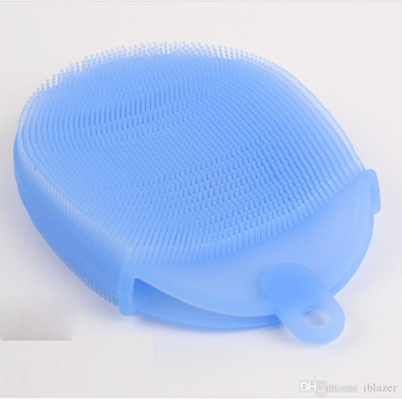 Dishwasher Brush Reusable Pan Brush Kitchen Food Grade Silicone Multi-Purpose Cleaner Brush Cleaning Glove Random Color Delivery