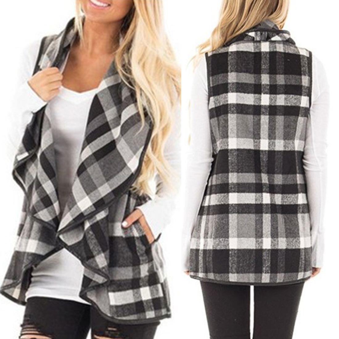 Autumn women plaid vest Long waistcoat winter Female warm wool turndown collar Jacket cloak Womens sleeveless cardigan Coat