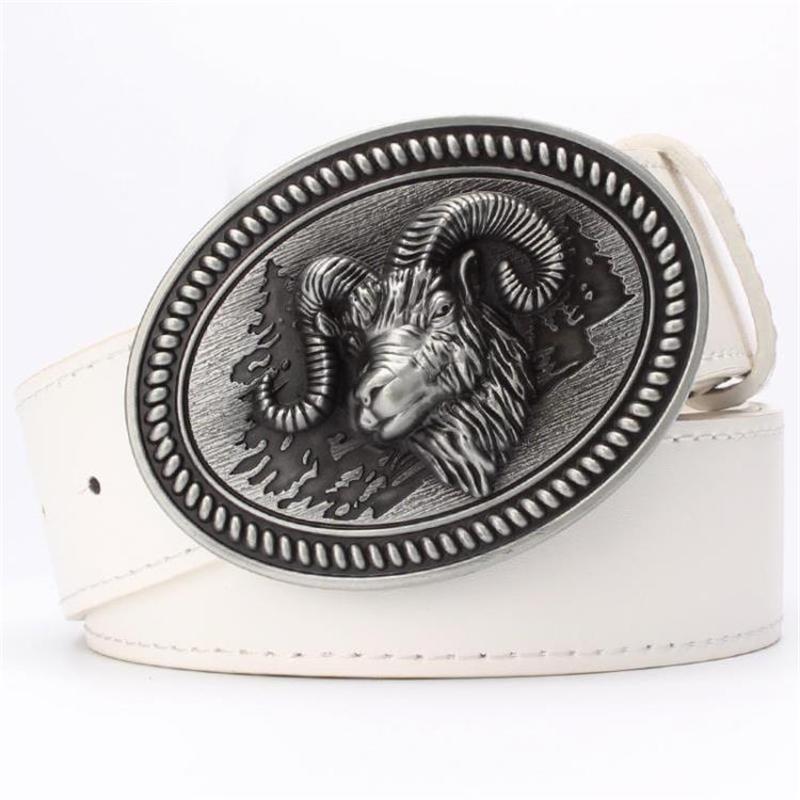 Correa masculina Cinturón de estilo animal Cinturones de hebilla de metal Cabeza de carnero Cinturón de cuero de cabra Regalo de ovejas para hombres Wild Western Cowboy Belt