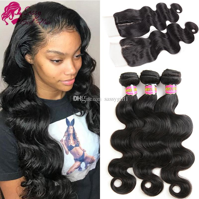 Indian Virgin Hair Body Wave Closure with 3 Bundle Unprocessed Indian Body Wave Human Hair Weaving Vendors Products Grade 8A