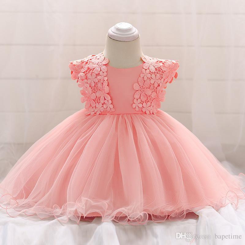 bf42e8168 Venta al por mayor- Vestido de bautismo para niñas pequeñas Disfraces de  navidad Vestidos de princesa para bebés 1 año de regalo de cumpleaños ...
