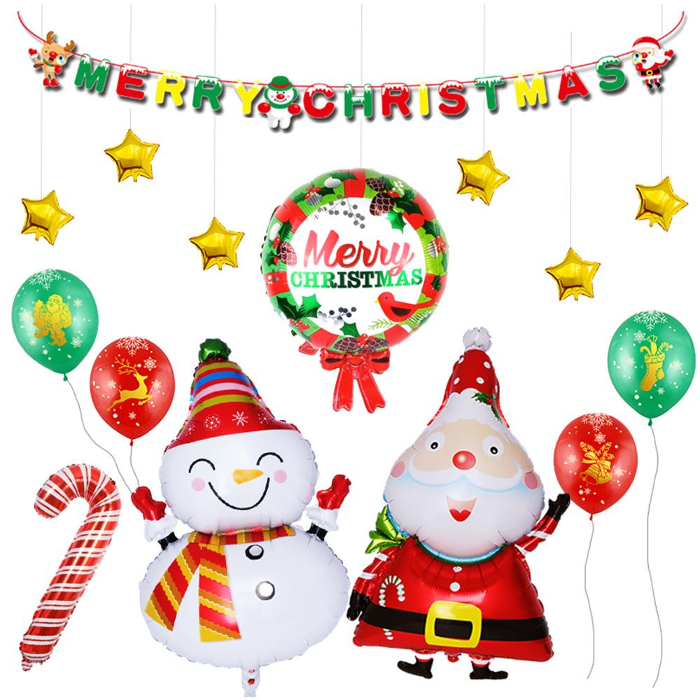 Set Christmas Decorations Foil Latex Snowman Santa Claus Balloons ...