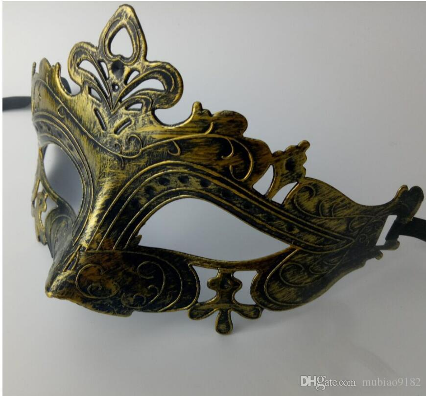 Ретро мужская маска для Марди Гра Гладиатор маскарад старинные Золотой / Серебряный Маска Серебряный карнавал Хэллоуин маски 12 шт.