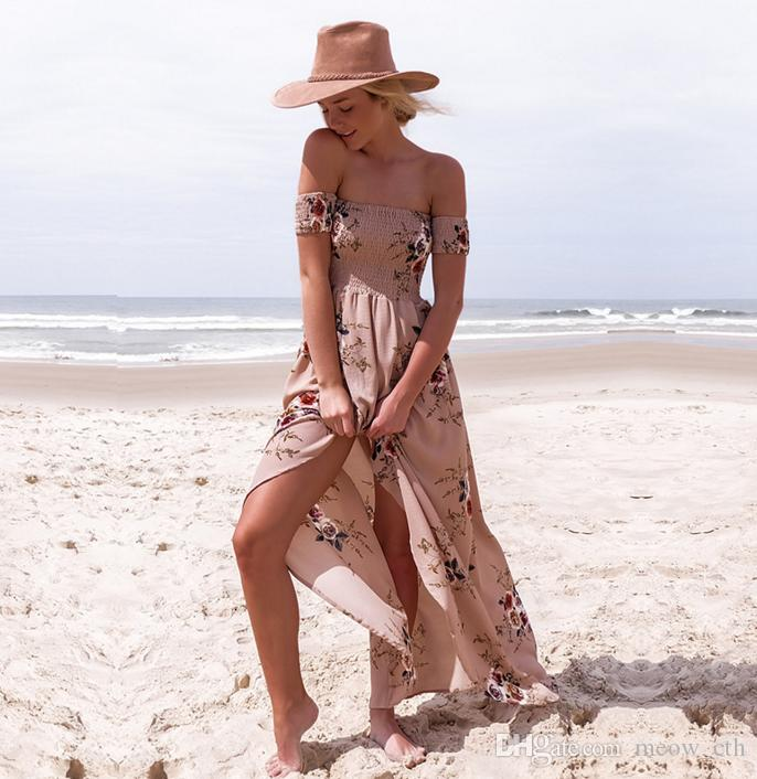2018 summer beach Donna Off Spalla Stampa Abito Fashion Beach Abiti estivi Donna Senza spalline Abito lungo maxi