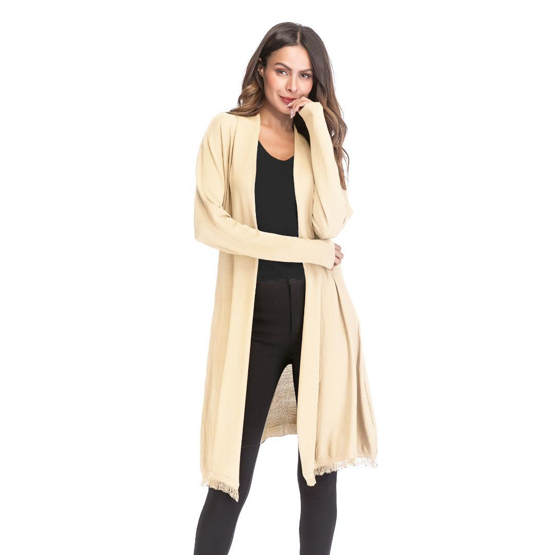 Long Cardigan Women Sweaters de verano 2018 Fashion Fall Jacket Womens Solid Color Full Sleeve Tassel Thin de gran tamaño Cardigans