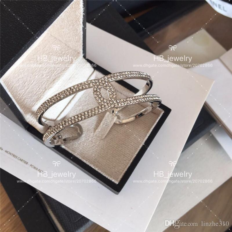 New Fashion design CH Full drill open bracelet By Luxury C Brand for Women Anniversary Gift Wedding Jewelry for Bride with box