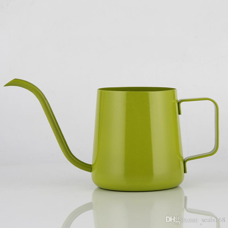 350 ml de té de café hervidor de agua de acero inoxidable cuello de cisne vierte sobre el fabricante de café que cuelga el oído del goteo de café largo canalón olla de té olla HH7-404