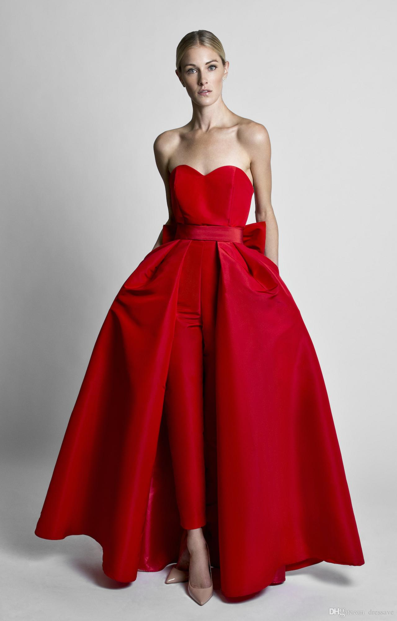Red Jumpsuits Celebrity Dresses Evening Wear With Detachable Skirt Sweetheart Strapless Satin Guest Dress Prom Party Gowns