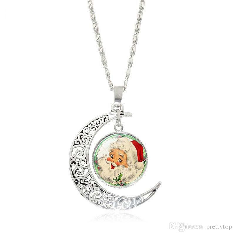 Wholesale best selling santa claus time jewel half moon pendant wholesale best selling santa claus time jewel half moon pendant necklace christmas decorations free mail birthstone pendant necklace picture pendant aloadofball Images