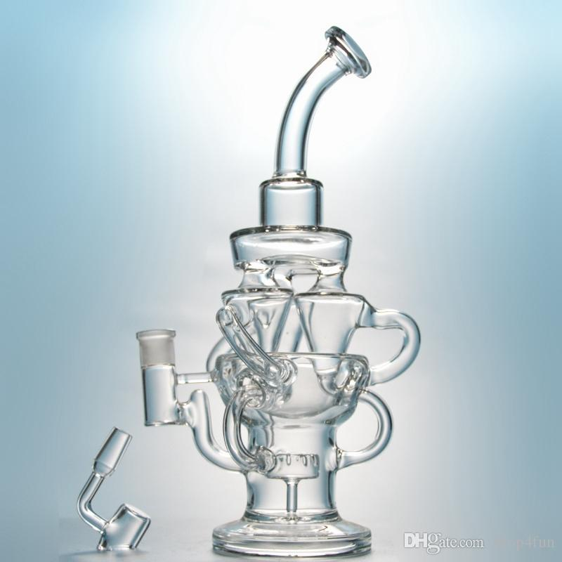 vortex bong recycler glass water pipes triple cyclone inline arm unique dab rigs with 14mm joint large bong thick oil rigs purple waterpipe