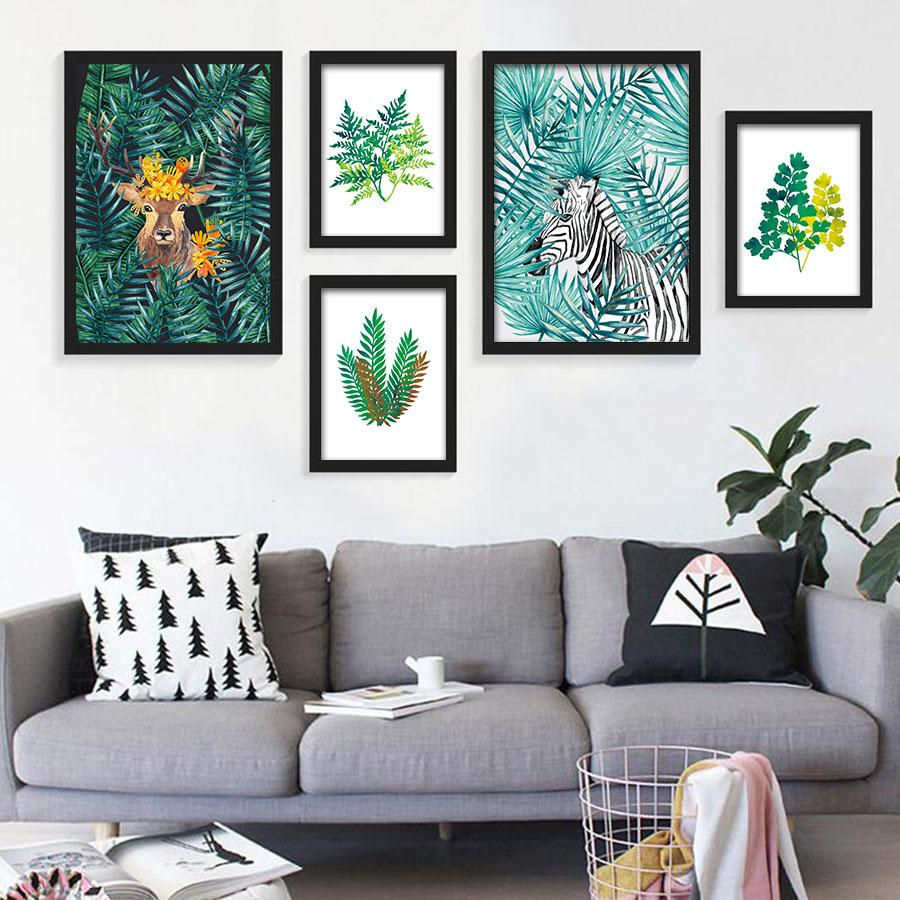 623b382e0 2019 Nordic Style Watercolor Plant Tropical Leaf Flower Cactus Canvas  Printing Wall Art Poster Wall Pictures Living Room Home Decor From Starch