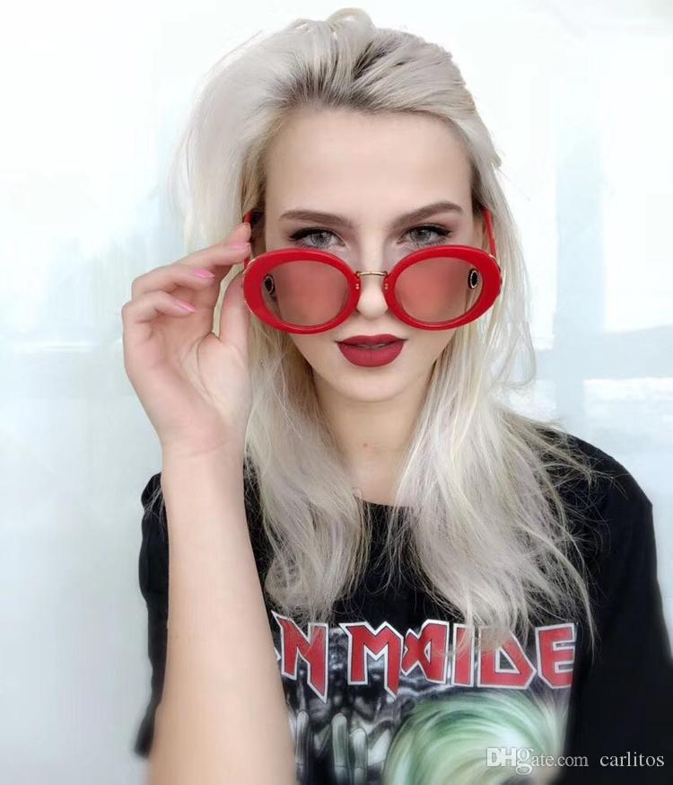 2018 Top quality Brand Women Round Sunglasses Women's Unique black frame Designer Gradient Vintage Eyeglasses sunglasses For Women With box