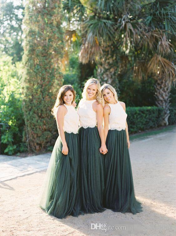 .2018 New Two Tone Lace Crop Country Long Bridesmaid Dresses Hunter Green Plus Size Junior Maid of Honor Wedding Party Guest Gowns