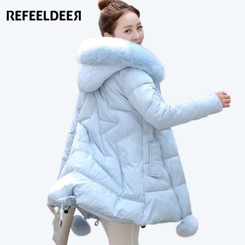794e8ff4667a Wholesale- Women's Thick Warm Long Winter Jacket Women Parkas 2017 Faux Fur  Collar Hooded Cotton Padded Winter Coat Female Manteau Femme