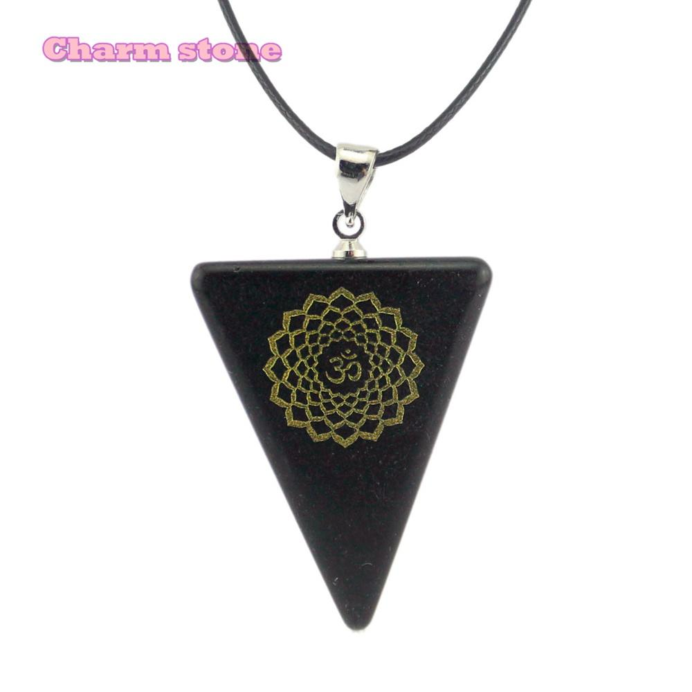 Natural obsidian 7 chakra Pendant characteristic Fashion jewelry design carved Chakra triangle Necklace stone Reiki Healing