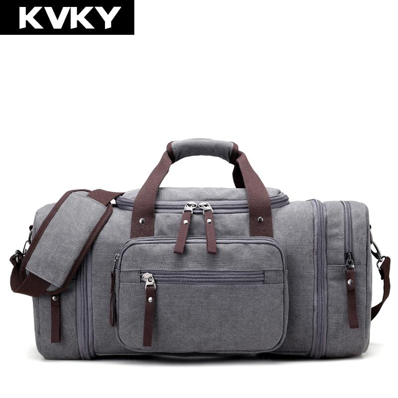 KVKY Brand Travel Bags Men S Large Capacity Handbag Luggage Travel Duffle  Bags Canvas Weekend Multifunctional Business Leather Handbags Hand Bags  From ... 2092dbd533bcc