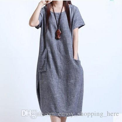 75c0814aaa Cotton Linen Dresses Summer Short Sleeves Women S Clothes Korean Loose  Slimming Plus Size Dress M 5XL High Quality Solid Casual Dress Beautiful  Dresses ...