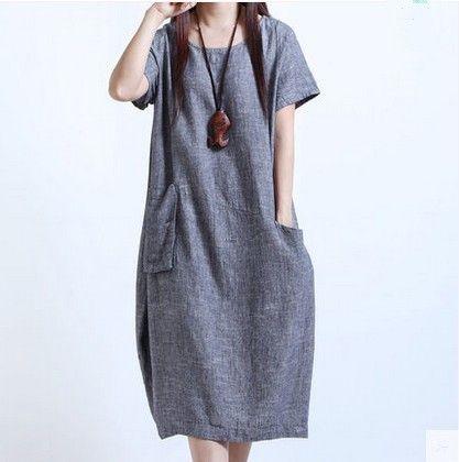 best sneakers 9b61f 96c31 vestiti di lino cotone estate maniche corte vestiti delle donne coreano  sciolto dimagrimento plus size vestito M-5XL solido vestito casual di alta  ...