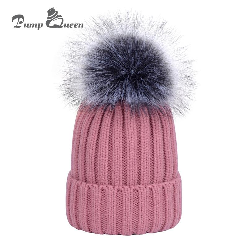 c7a4c167661 Pump Queen New Fashion Pom Poms Women Winter Hats Warm Wool Beanies For  Female Outdoor Thicken Knitted Cap Wool With Ball Bonnet Beanie Hats For  Women ...