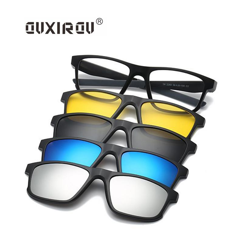 668061740a 2019 New Fashion Sunglass Men Women Goggles Polarized Eyeglasses Frames  Magnetic 5 Clip On Tinted Glasses Male Driving Spectacle 2269 From Ogstuff