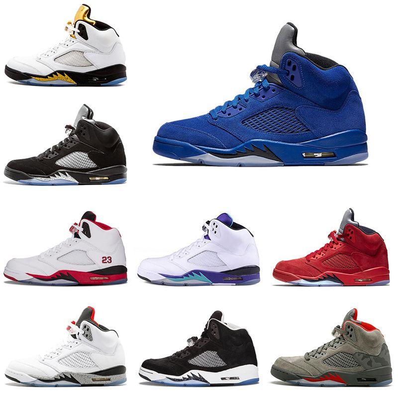 297dccd7b47 Acquista Scarpe Da Basket Da Uomo Economici 5s Nero Grape Blu Camoscio Fire  Red Flight Suit Uomo Scarpe Da Ginnastica Sneaker 5 Scarpe Sportive Taglia  8 13 ...