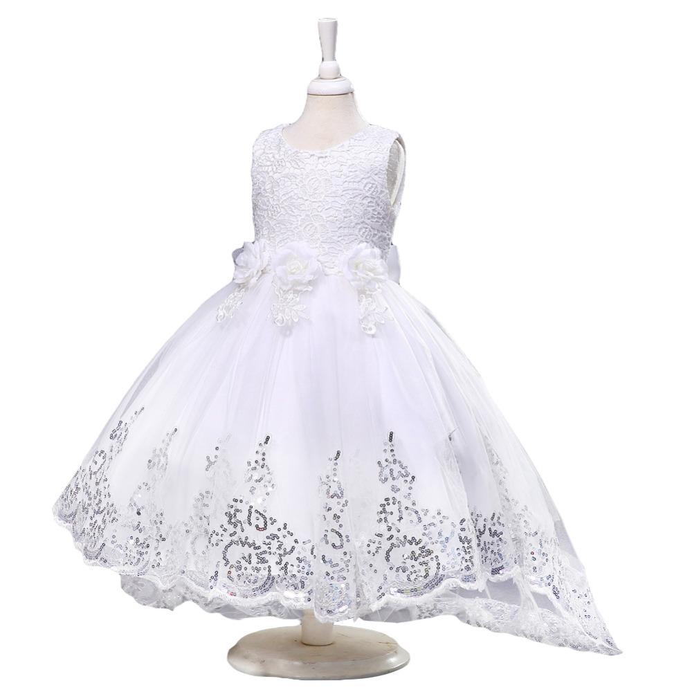 Nowa Lato Księżniczki Dziewczyny Biały / Czerwony / Różowy Sukienka Dla Ślubny Kwiat Girl Sukienki Bez Rękawów Dziecko Dzieci Odzież Ubrania Sukienka