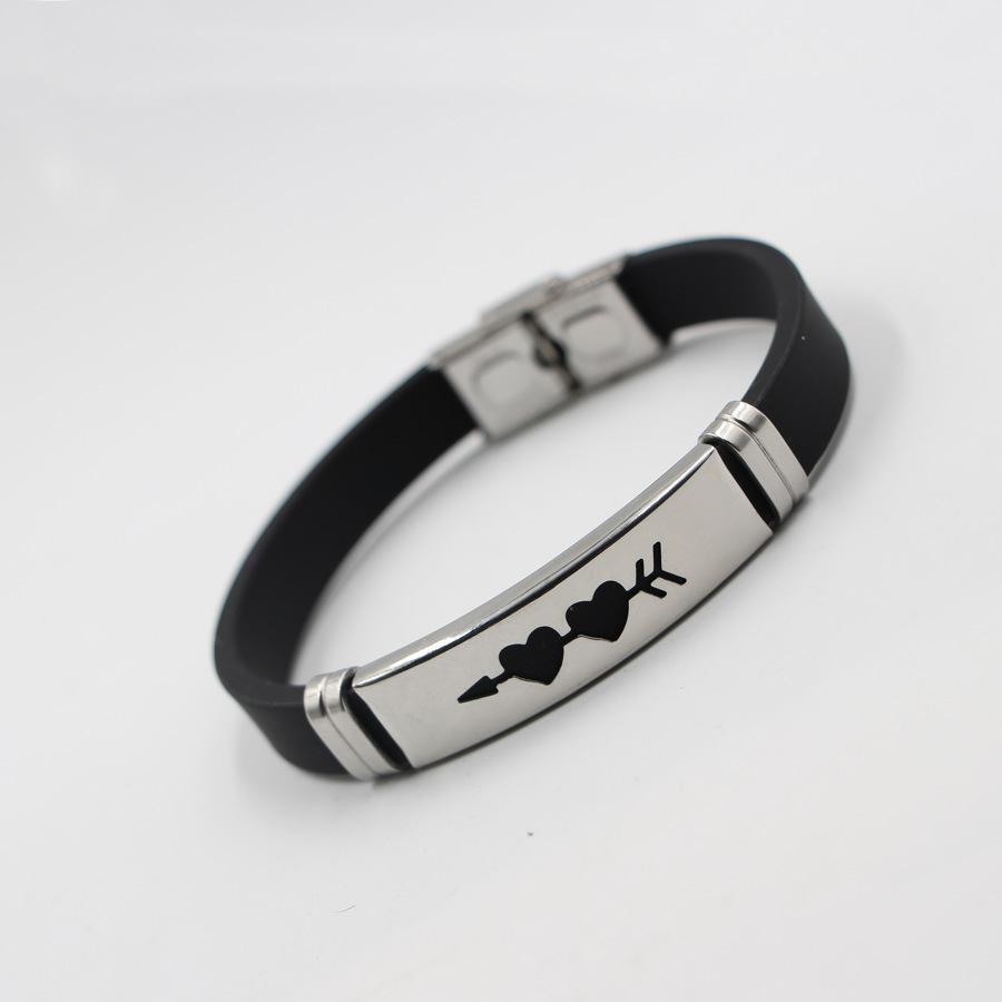 427ae74a54124 Satın Al Yeni Moda Spor Silikon Bilezik Ok Kalp Çift Aşk Kalp Bilezik Paslanmaz  Çelik Bilezik Toptan Titanyum Çelik Takı, $4.83 | DHgate.Com'da