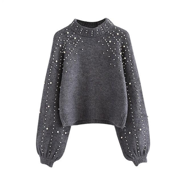 04f6e56d1 Pull en maille côtelée à perles et chandails d hiver pour femmes Pulls gris  Col montant à manches longues Pull serré WG229