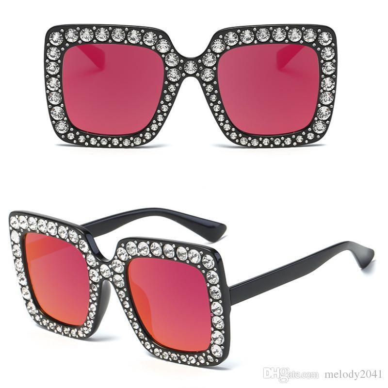 4e79ed9178ffc Compre Luxo Quadrado Óculos De Sol Das Mulheres Com Strass Big Frame Design  Óculos De Sol Moda Mais Cores Oversize Atacado De Melody2041,  4.37    Pt.Dhgate.