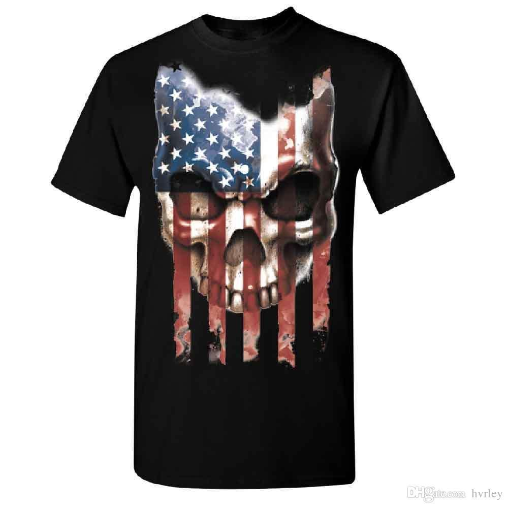 19bb7c0ece2 T-shirt Shop Korte Crew Hals Half Schedel Vintage Amerikaanse Vlag mannen  T-Shirt Juli Usa Tee Beste Vriend Shirts Voor mannen