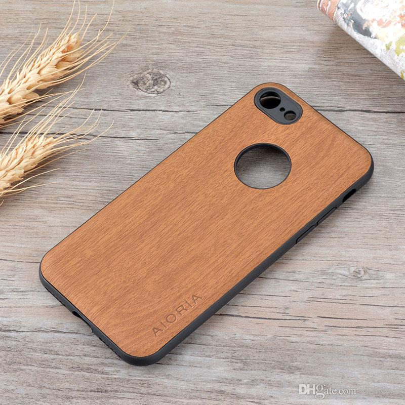 newest collection 7ea99 e3b90 Wooden design case for iPhone 7 soft TPU silicone material with wood PU  leather skin covers for iphone 8 coque fundas 2018 Popular case