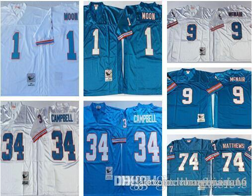 Men Retro Jersey  1 Warren Moon Houston  34 Earl Campbell 74 Bruce ... 1d3a2213c