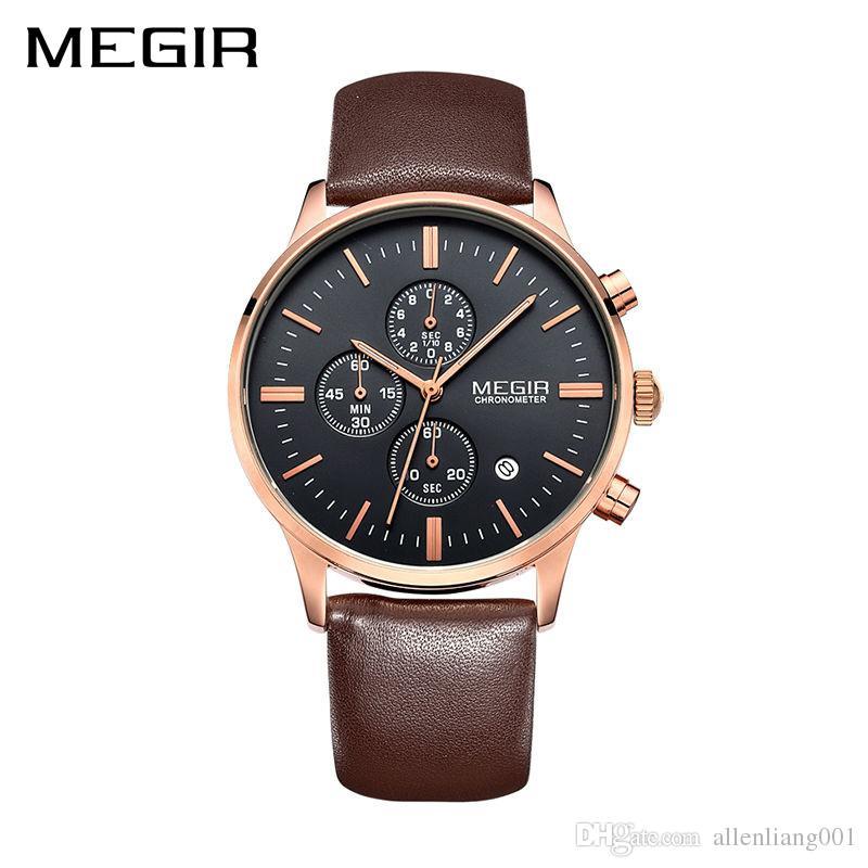 6ecdd0342e1 2018 New MEGIR Original Quartz Wristwatches Men Stop Watch Top Brand Luxury  Chronograph Quartz Movement Leather Clock Men Watches Model 2011 Men  Watches Man ...