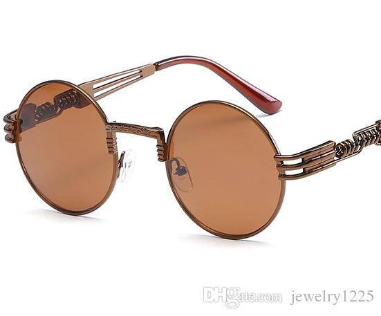 Óptico Rodada Óculos De Sol De Metal Steampunk Homens Mulheres Moda Óculos de Marca Designer Retro Vintage Óculos De Sol