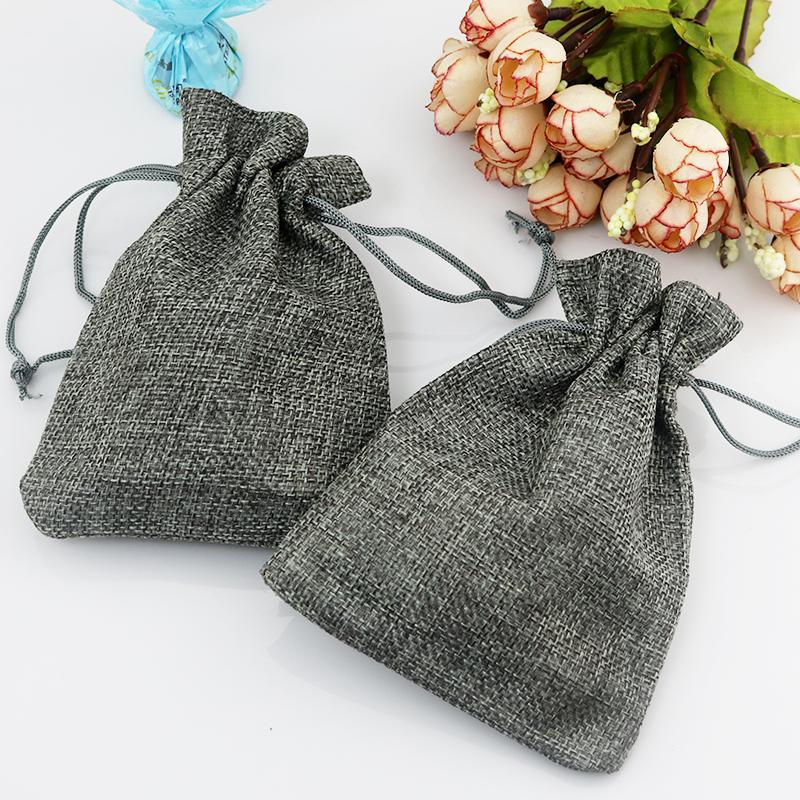 Small Gray Jute Bag 7*9cm Cute Drawstring Gift Bag Wedding Use Sachet Storage Charms Jewelry Packaging Linen Bags
