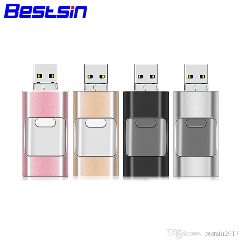 Bestsin OTG USB Flash Drive For iPhone XSMAX iPHONE XR Metalen Pendrive HD  Memory Stick 8g 16g 32g 64g i-Flashdrive
