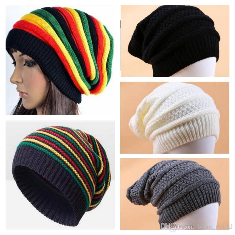 cd5469e96eb 2019 Women Winter Warm Hats Girls Jamaican Reggae Wool Cap Fashion Colorful  Stripe Beanies Long Rainbow Knit Hat Pullover Caps YL682 From Bling world