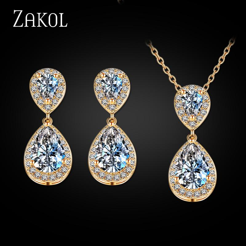 ZAKOL Fashion Teardrop Rhinestone Jewelry Set Romantic Sliver Color Hot Sale Jewelry For Bridesmaid Jewelry Wedding FSSP263