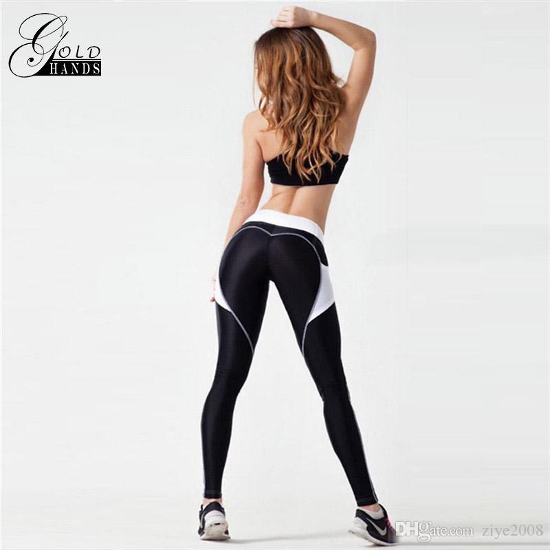 طماق الرياضية الجديدة ضئيلة السراويل اليوغا النساء بعقب رفع اللياقة البدنية الصالة الرياضية ممارسة تجريب الرياضية مرونة الخصر المرقعة شحن مجاني
