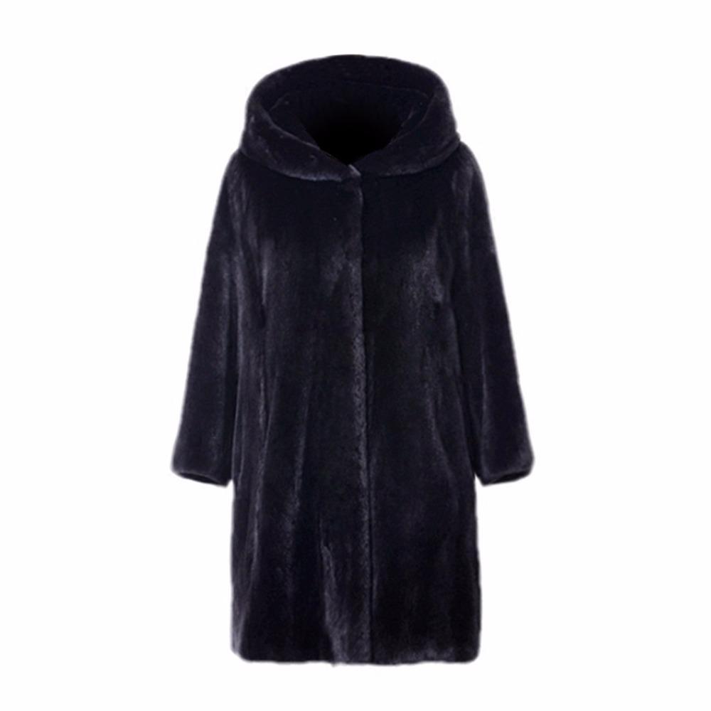 New Thick Winter Hooded Faux Fur Coat Women Long Black Jacket Imitation Mink Hair Fur Coat Female Plus Size 3XL Outerwear Femme
