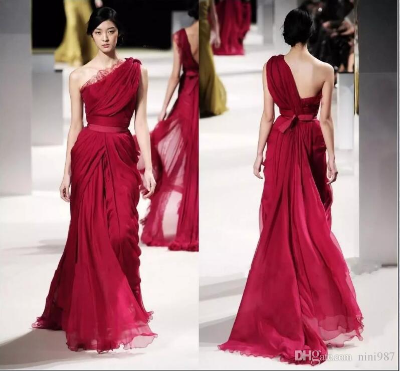 ELIE SAAB Akşam Ünlü Elbiseleri Dantel Aplike Bir Omuz Backless Plise Şifon Sequins Runaway Elbise Örgün Önlük 44 # kırmızı elbise
