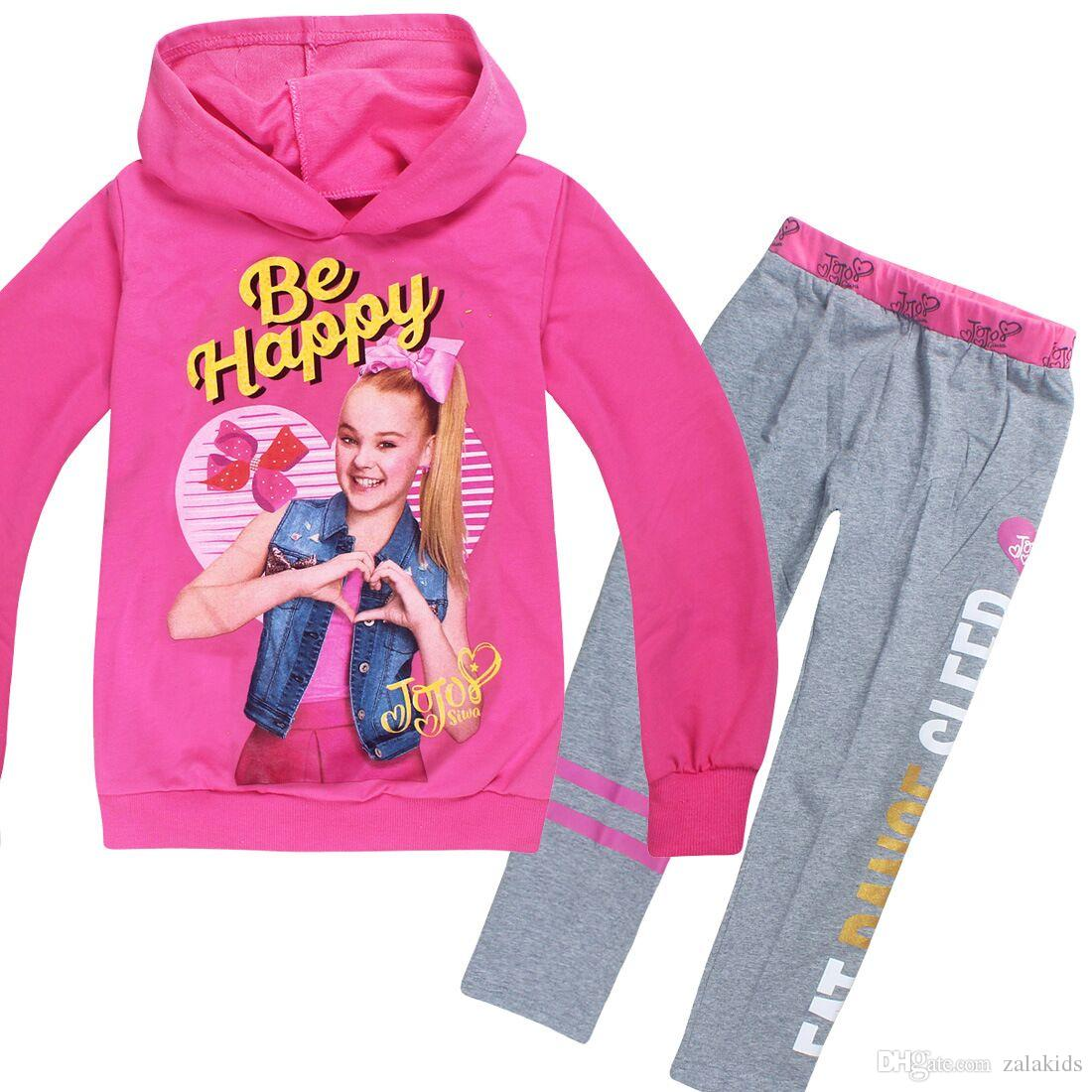 6311620d3 6 Colors Girls JOJO Siwa Clothing Sets Autumn Children Hoodies Sweatshirts  + Long Pants 2pcs Outfits JOJO Printed Kids Casual Sets 4-10Y