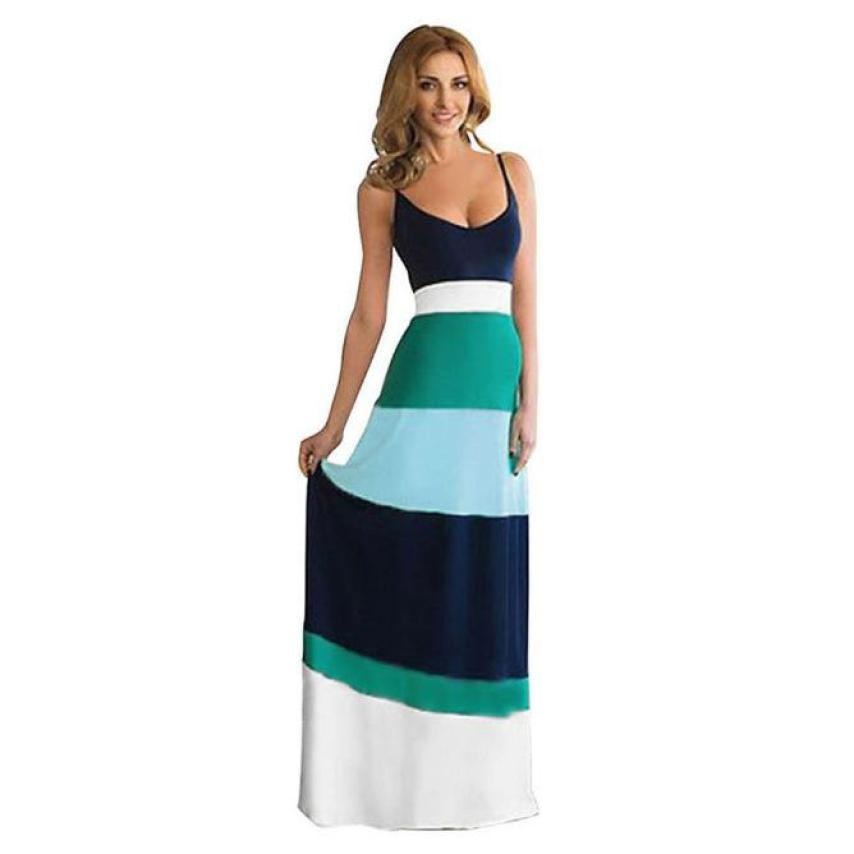 4406852c60af5 Best selling Women cotton Summer Splice Sleeveless dress Bohemian style  Ladies Evening Party Long Dresses vestidos de festa